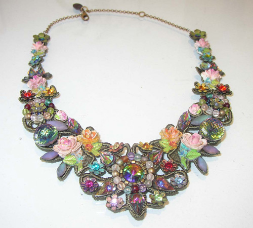 Necklace by jewellery designer Michal Negrin, made of fabric and glass.