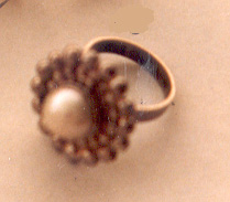 Silver ring with pearl, design C. Klingspor.