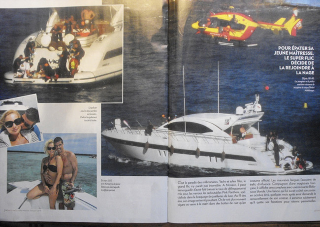 "Paris-Match 4-10 July 2013:""A murder?"" www.parismatch.com/Royal-Blog/Monaco/Une-etrange-affaire-a-Monaco-520942. The words ""first degree murder"" figure in the printed issue. In the upper left, while the body of André Muhlberger is being brought back onboard, yet another ""accident"" seems to be about to happen: a relatively tiny rope in the water heading for enrolment around the starboard propeller, while the stern's platform is full of people."