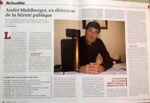 """"""" André Muhlberger, ex-directeur de la Sûreté publique"""". Lire l'article en entier ici. BIMCAM pourrait - cela va de soi - en écrire d'avantage."""