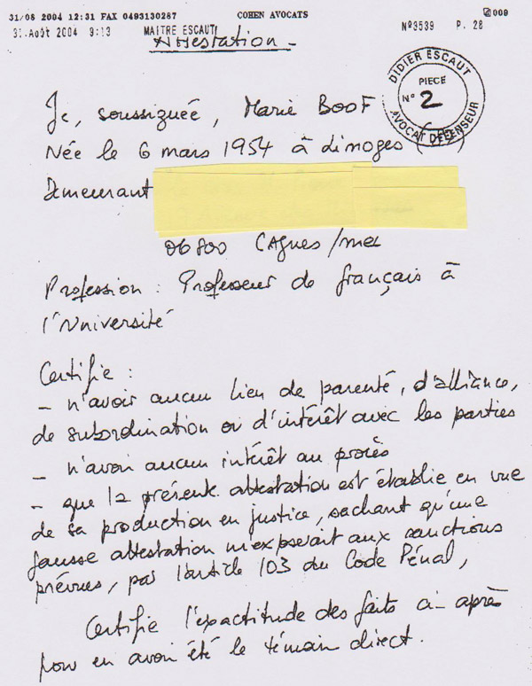 Extract from  the first page of Mme Boof's testimonial