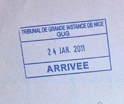 Stamp confirming reception of a criminal complaint for rape in France against a prominent person in Monaco. Shortly thereafter, the famous anti-corruption Prosecutor Mr. Éric de MONGOLFIER in Nice was demoted to a remote, rural location in France, prior to a retirement that was oncoming anyways. According to his own words, he felt fired.
