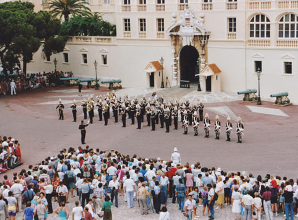 "Europe's ""Final Countdown"", performed by the Swedish Army's Musical Platoon (AMP) on the Palace Square in Monaco, 1992, at a time when relations between Sweden and Monaco were grand, thanks not least to Sweden's Consul in Monaco at the time, who arranged this event with the help of a Swedish Army Captain and Mr David Fristedt. A year later, Monaco joined the United Nations. Late Prince Rainier III's last wish for Monaco was that to see it joining the European Council, a wish that were to be granted. Monaco's obligations towards said Council are now to be fulfilled in His memory. This suggests the dismantling of the ""Direction of Judicial Services"". Photo realized by David Fristedt."